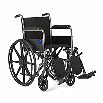 """Medline Comfort Driven Wheelchair with Full-length Arms and Elevating Leg Rests for Extra Comfort 18"""" Seat"""