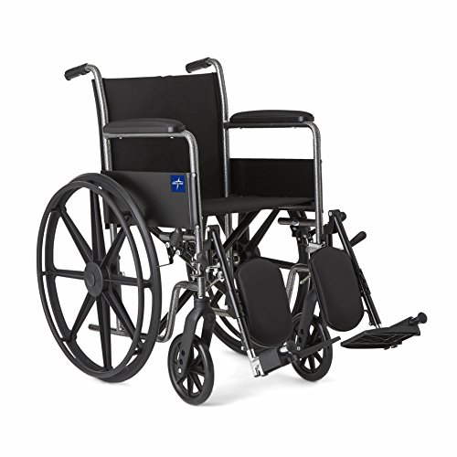 Medline Comfort Driven Wheelchair with Full-length Arms and Elevating Leg Rests for Extra Comfort,...