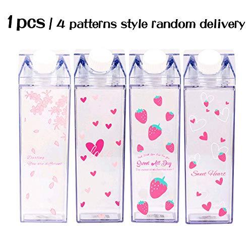 Gorgeousy Tragbare Wasserflasche Milk Storage Erdbeer-Print Sports Drinking Clear Cup, Milch Box Square Cup, Keine undichten, BPA frei