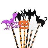 WEKON 36pcs Pajas de Halloween, Pajitas Halloween, Pajita Beber Halloween, Pajas Beber Halloween 6...
