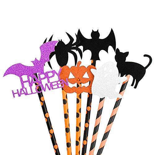 WEKON 36 cannucce di carta per Halloween, zucca, ghost scheletetro, bat spider, pratiche e chic, per Halloween, feste e compleanni