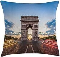 ヨーロピアンスローピロークッションカバー、パリの有名なシャンゼリゼ通り歴史的建造物フランス文化パノラマ、装飾的なスクエアアクセントピローケース、マルチカラー18x18インチ