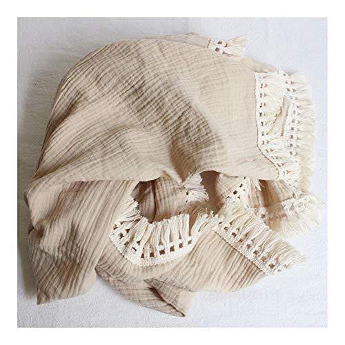 Baumwolle Musselin Babydecken Newborn Swaddle Wrap Blanket Tassel Cotton Baby Decke Infant Sleeping Quilt Bettdecke (Farbe : Khaki, Size : 100x120cm)