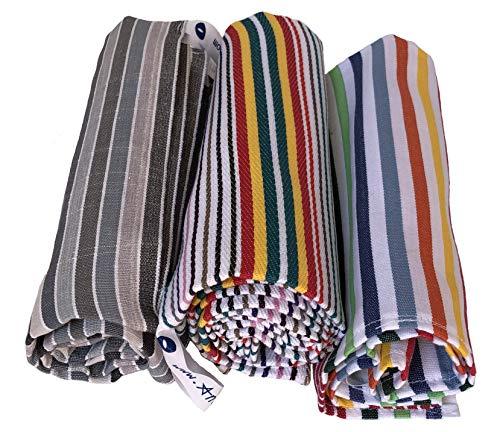 Strofinaccio, Canovaccio, Torcione, Set 3 Asciugamani per la Cucina di Cotone, Misura Grande 60x85, Colori a Righe, Prodotti in Italia