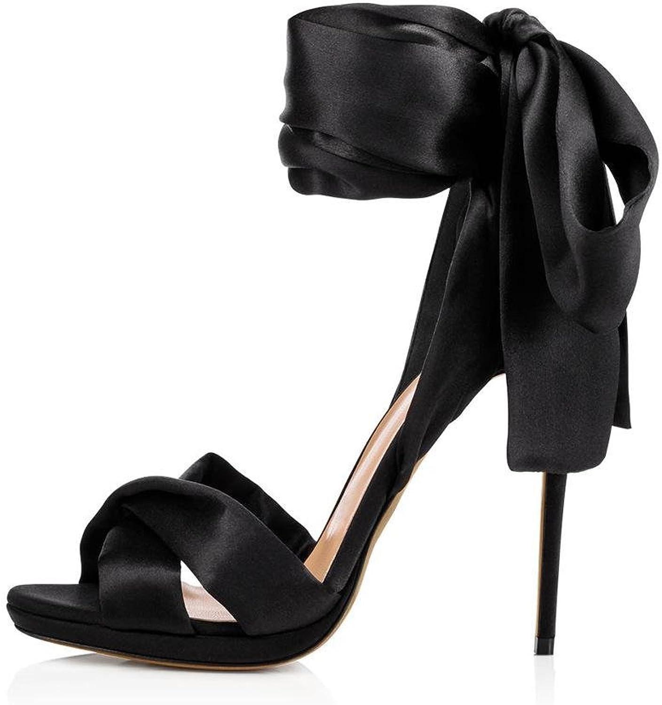 Donna Sexy Caviglia Cinghia Sbirciare Dito del piede Stiletto alto Tacco Rosso Nero seali Le signore Nozze Sautope Festa Vestito Discoteca , nero , EUR 39  UK 6-6.5