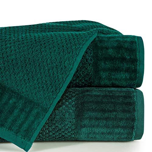 Eurofirany handdoek, katoen, zacht, eenvoudige badstof, boordset, 3-pak Oeko-Tex, donkergroen, 70 x 140 cm