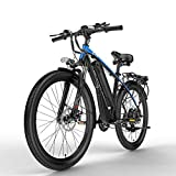 Nbrand T8 26 Pulgadas Bicicleta de montaña, Bicicleta eléctrica de 48 V, Horquilla de suspensión bloqueable, con Pantalla LCD de Ajuste de 5 Pas (Blue, 400W 10.4Ah)
