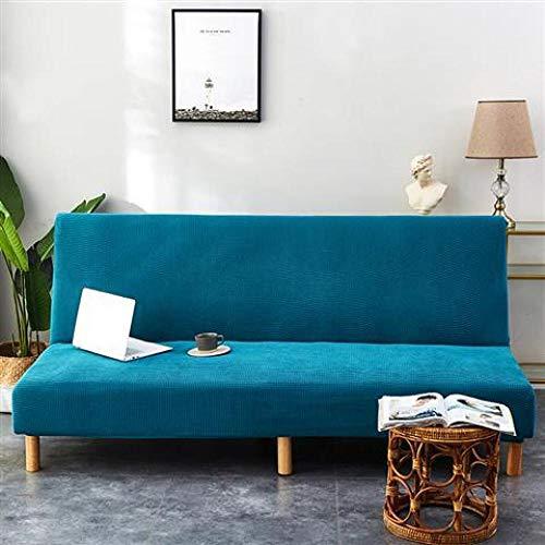 B/H Funda de Sofá Elástica Punto,Thicken Funda de sofá Todo Incluido, Funda de sofá elástica Simple-Blue_160-185cm,Funda Elástica para Sofá Universal Moderna