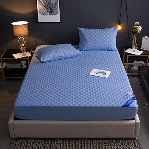 GTWOZNB Protector de colchón Acolchado - Microfibra - Transpirable Funda Protectora Impermeable para sábanas-Blue_150 * 200cm