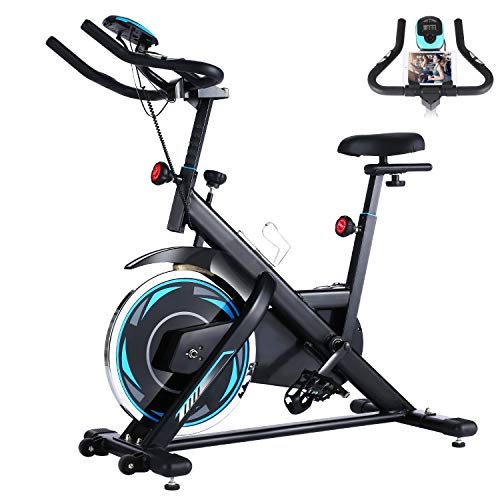 FUNMILY Indoor Exercise Bike, Fitness Stationary Indoor Cycling Bike Belt Drive with LCD Monitor for Home Cardio Workout Bike Training