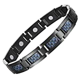Feraco Health Magnetic Therapy Bracelet for Men Arthritis Effective Pain Relief Elegant Blue Carbon Fiber Magnetic Bracelets Black