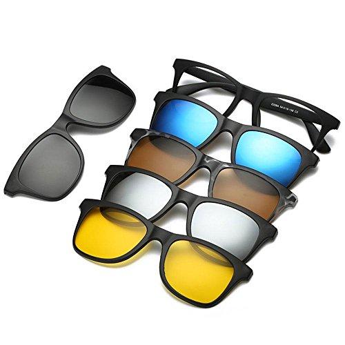 FOONEE Vintage Occhiali da Sole, Occhiali da Sole polarizzati Magnetica con Set di 5Lenti a Clip, Occhiali da Sole Unisex per Guida, Pesca, Ciclismo