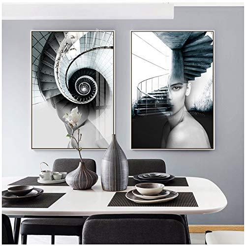"""Imprimir en lienzo Arte abstracto Pintura Niñas y escaleras Lienzo Cuadros de pared Cuadros de pared de moda para estar Decoración del hogar Lienzo Pintura 11.8 """"x 19.6"""" (30x50 cm) x2 Sin marco"""