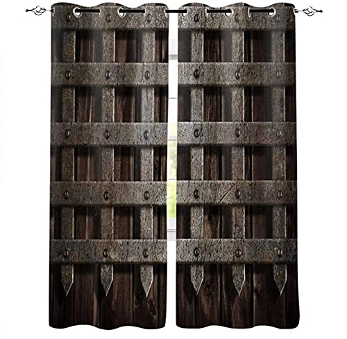 LUOWAN Blackout Curtain for Kids Girls Microfiber - 110x96 inch - Prison iron gate building terror - Thermal Insulated 95% Blackout Kitchen Bedroom Living Room Window Eyelet Curtains