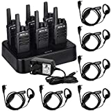 Retevis RT668 Walkie Talkie with Earpiece, PMR446 License Free 2 Way Radio with 6 Way Charger, 16CH VOX Rechargeable Walkie Talkies Long Range Portable Two Way Radio for School, Security(Black, 6Pcs)