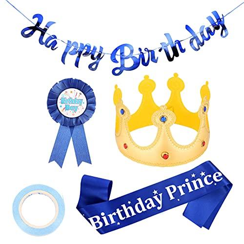 QINREN 4 Stück Geburtstagskrone Junge Birthday Boy Schärpe Geburtstags Schärpe Krone Geburtstag Kinder Geburtstags Banner Happy Birthday Boy Award Badge für Jungen Geburtstagsdekorationen