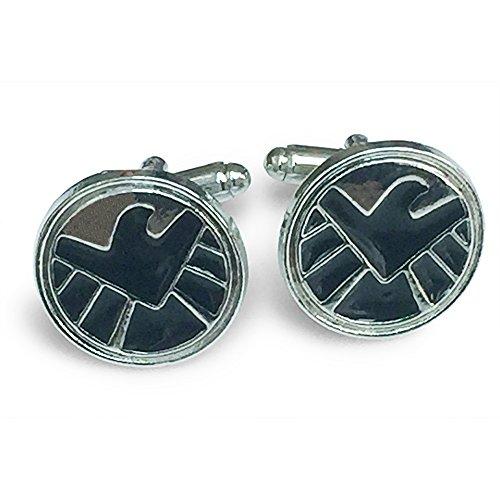 Orion Creations Superhero Shield Logo Silber und Schwarz Manschettenknöpfe