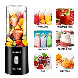 Portable Blender Juicer Cup, 4000mAh Battery Rechargeable Single Serve Blender, Personal Size Blender For Smoothies and Shakes, Travel, Mini Blender with Six Blades - Black(Single-cup)