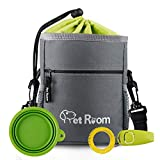 Pet Room Dog Treat Pouch Bag, Dog Walking Bag With Poop Bag Holder,Dog Training Clicker, Collapsible Silicon Dog Water Bowl, Adjustable Belt and Shoulder Strap
