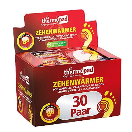 THERMOPAD Zehenwärmer – DAS ORIGINAL: 30 Paar Wärmepads für 8 Stunden Wärme I Sofort einsatzbereite Fußwärmer I Extra warmer Fusswärmer – ideal für Outdoor-Aktivitäten & Ski-Schuhe I Fuss-Wärmekissen