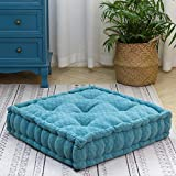 """HIGOGOGO Floor Cushion Pouf, Square Floor Pillow Seating Chenille Meditation Cushion, Thick Tufted Pillows for Living Room Yoga Bedroom Sofa, Turquoise, 20""""x20""""x5.5"""""""