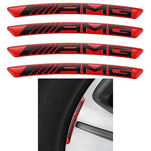 AMG Logo emblema per ruote lettere in alluminio adesivo per AMG (rosso)