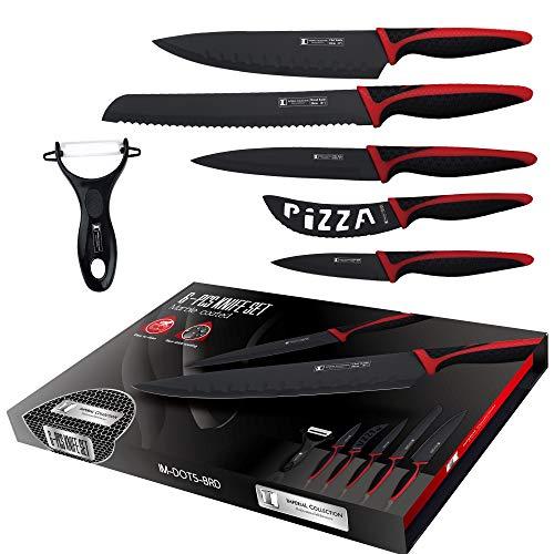 COLLECTION IMPERIAL IM-DOT5-BRD; 6 PIÈCES Couteau à pain- Couteau de chef- Couteau à pizza- Couteau utilitaire- Couteau d'Office+Éplucheur céramique