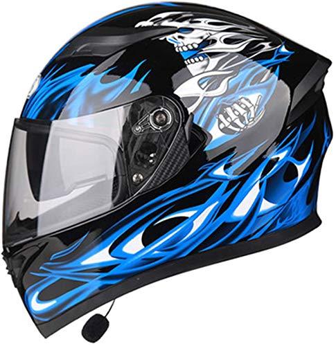 Allround Helmets Bluetooth Casco De Moto Modular,con Bluetooth HD Negro Marrón Lente Auriculares Y Micrófono Integrados Casco De Carreras De Cara Completa Diseño De Personalidad Adecuado C,M