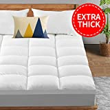 TEXARTIST Extra Thick Mattress Topper(Queen, White), Cooling Mattress Pad Cover, 400TC Cotton Pillow Top with 8-21 Inch Deep Pocket Fitted Skirt, One-Stop Sleep Solution
