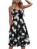 SKZZVI Vestido de verano para mujer, largo medio, cuello en V, sin mangas, cinturón de espaguetis, estampado negro y blanco M