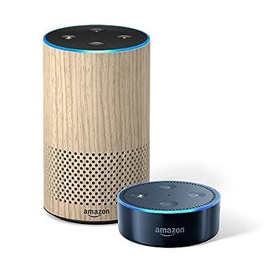 Echo (2nd Generation) – Oak Finish + Echo Dot