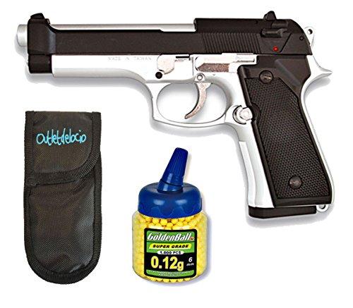 Outletdelocio. Pistola airsoft MF-9S metálica. Calibre 6mm + Funda Portabalines + 1000 bolas. 43479/21993/23054