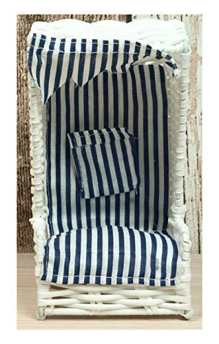 Küstenambiente Mini Strandkorb aus Kunststoffgeflecht weiß ca. 17,5 x 9 x 9cm Maritime Deko