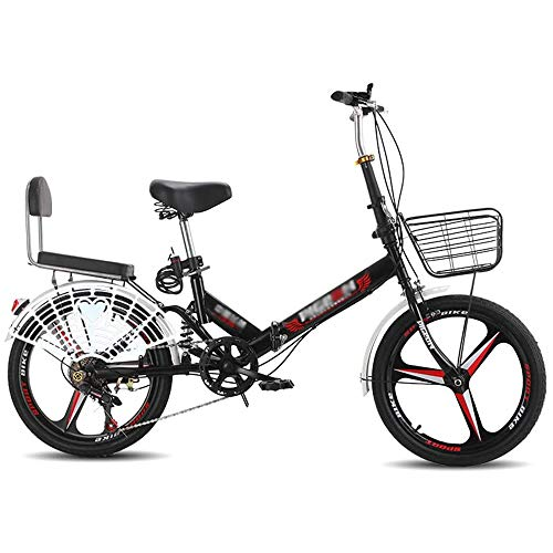 YSHUAI Folding Bike for Adult Student Children 20 Inch Foldable Bike Folding Bicycle Double Disc Brake with Variable Speed Bicycle Shock Absorbers,Red Black