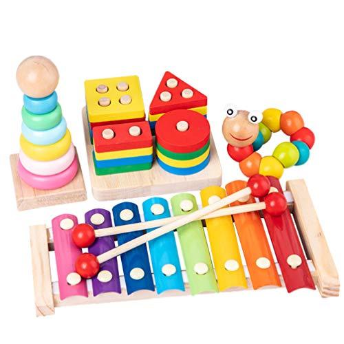 Toyvian 4 Piezas de Bloques de construcción de Madera Coloridos Juguetes Divertidos geométricos de Madera Cuatro columnas Torre del Arco Iris Juguetes Tocando la Mano Piano para niños