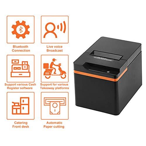 TANCEQI 80MM Thermische Printer voor Keuken, met Live Voice Broadcast High Speed Printer Compatibel met ESC/POS Print Commands Ondersteuning Bluetooth Connection, Automatische Order Taking