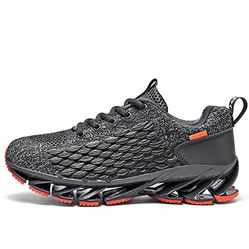 Pattrily Zapatos de hombre Transpirable Malla de Encaje Zapatos para correr al aire libre Fitness Entrenamiento Deportes Antideslizante Resistente al, negro (Gris), 38 EU