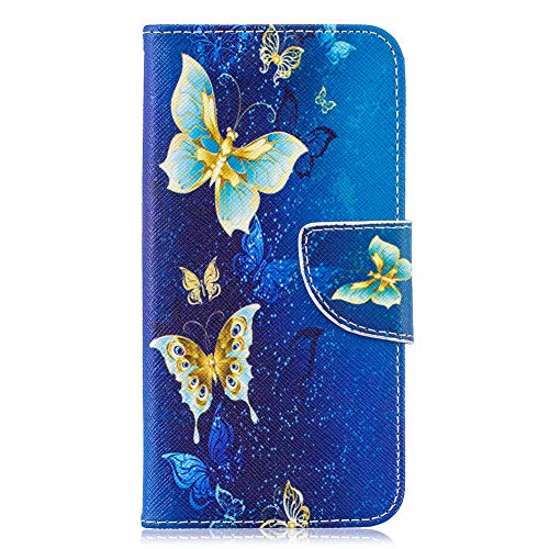 Coopay für Samsung Galaxy S10e Hülle,Damen Schutzhülle,Flip Slim Ledertasche Wallet Case mit Standfunktion Card Holder Magnetverschluss Lederhülle Brieftasche + Schlüsselband,Blau Gold Schmetterling