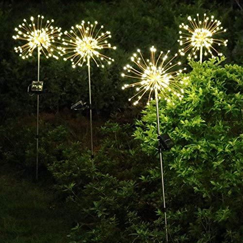 ZLININ Hada Luz, DC3V de energía solar de 8 modos de 120 LED de fuegos artificiales de Starburst cadena de luz al aire libre impermeable Lawnscape lámpara Luces de Navidad