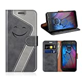 MOBESV Smiley Motorola Moto G5S Hülle Leder, Motorola Moto G5S Tasche Lederhülle/Wallet Hülle/Ledertasche Handyhülle/Schutzhülle für Motorola Moto G5S, Schwarz/Grau