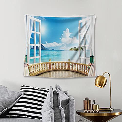 Tapiz Tapiz de Pared Tapices de Pared,Playa Árboles Vista al Cielo Balcón Ventanas de Madera Blancas Verano Tropical, Sala de Estar Dormitorio Dormitorio Decoración Tapices