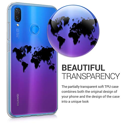 kwmobile Huawei P Smart+ (2018) / Nova 3i Hülle - Handyhülle für Huawei P Smart+ (2018) / Nova 3i - Handy Case in Travel Umriss Design Schwarz Transparent - 3