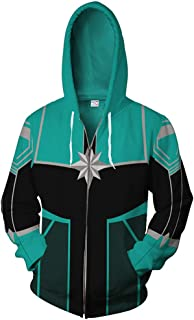 Gurbanton Captain Carol Danvers Hoodie Costume Adult Men 3D Printed Zip Up Sweatshirt