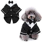 HACRAHO Esmoquin de Perro, 1 Paquete Negro Disfraz de Esmoquin para Perro Traje de Pajarita de Boda para Perro A Rayas para Perros Pequeños, Gatos, Cachorro, Circunferencia del Pecho 18.90'