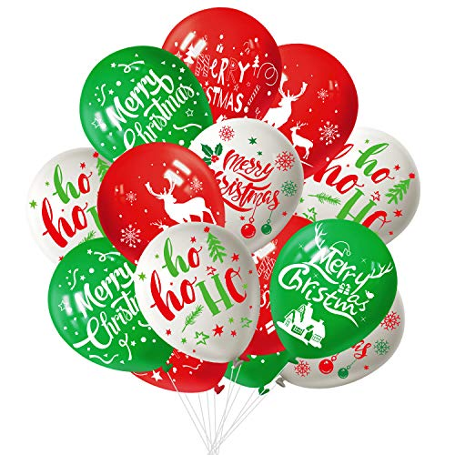 FEPITO 50Pcs Christmas Party Balloon 12 Inch White Red and Green Latex Christmas Balloons, 6 Merry Xmas Style for Christmas Decoration Party Supplies