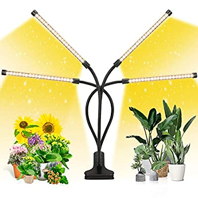 EZORKAS LED Grow Light, 4 Head Timing, 5 Dimmable Levels, Plant Grow Light for Indoor Plant with Full Spectrum, Adjustable Goosencck, 3/6/12H Timer, 3 Switch Modes