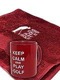 BGSP - Regalo Golf | Taza (Golf Legend | Love | Keep Calm) + Toalla para Golf Blanca con Gancho para Bolsa de Palos | Unisex Golfistas (Taza y Toalla Roja Keep Calm)