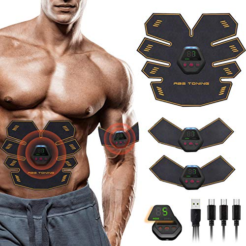 MATEHOM Electroestimulador Muscular Abdominales, Estimulación USB Recargable ABS Estimulador Muscular para Abdomen/Piernas/Cintura/Brazo