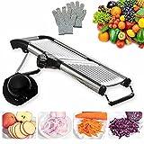 Mandoline Slicer with Protective Gloves for Kitchen -VEKAYA Vegetable Slicer for Potato, Carrot and Onion, Kitchen Slicer and Chopper for Vegetables Time Saver 0-9mm thickness (silver)