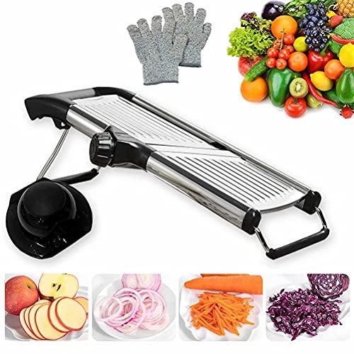 Mandoline Slicer with Protective Gloves for Kitchen -VEKAYA Vegetable Slicer for Potato, Carrot and Onion, Kitchen Slicer and Chopper for Vegetables Time Saver(silver)